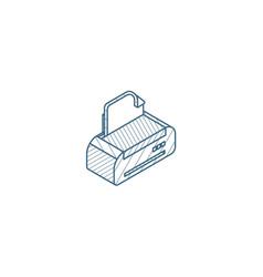 Printer isometric icon 3d line art technical vector
