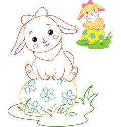rabbit and easter egg coloring page vector image