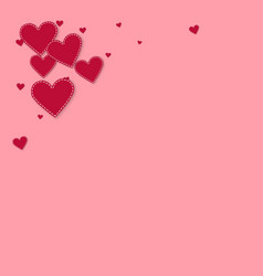 Red heart love confettis valentines day corner a vector