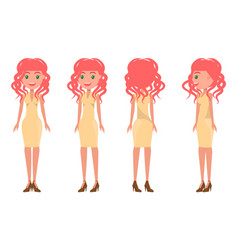 Redhead pretty women in stylish outfits all sides vector