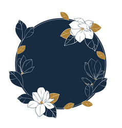 Round frame of magnolia flowersbuds and leaves vector