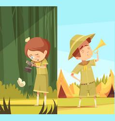 scouts activities cartoon banners set vector image