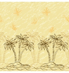 Seamless pattern palm trees and butterflies vector image