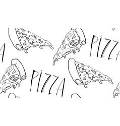 seamless pizza background vector image