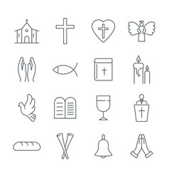set christian line icons on white background vector image