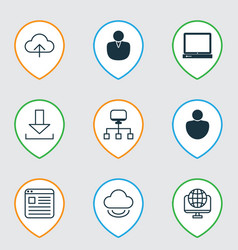 Set of 9 online connection icons includes website vector