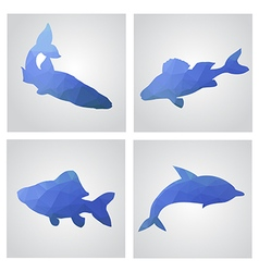 Set of cards in polygonal style Fishes fishing dol vector