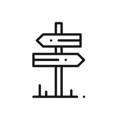 signpost line icon road sign and symbol vector image