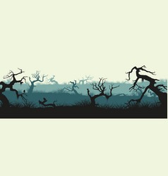 silhouettes broken trees and marsh grass vector image