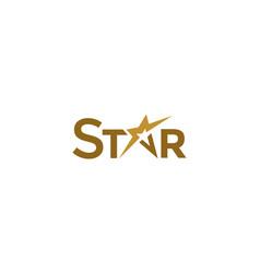 Simple typo letter star golden logo vector