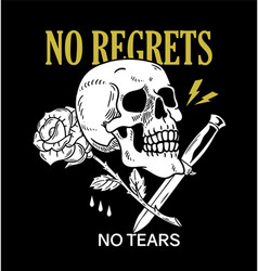 skull rose knife phrase print vector image