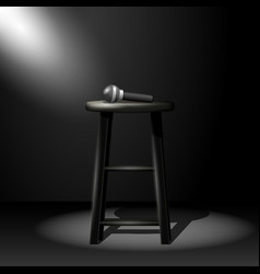 stand up comedy stage - microphone on stool in vector image