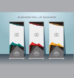 Standing roll up banner template design vector