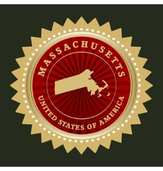 Star label Massachusetts vector image