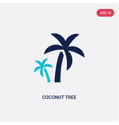 two color coconut tree icon from ecology concept vector image