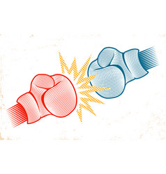 Vintage emblem for boxing with two gloves vector