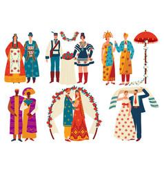Wedding culture traditions set vector