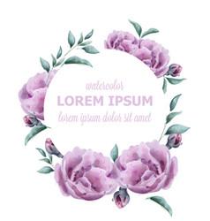 Wedding invitation rose watercolor wreath vector