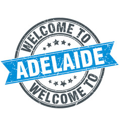 Welcome to adelaide blue round vintage stamp vector