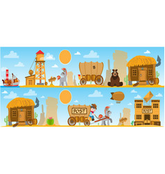 Wild west game background daily life cowboys vector