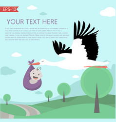 With fairy tale landscape stork and vector