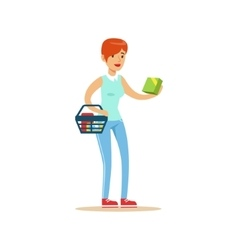 Woman With Basket Shopping In Department Store vector