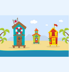 wooden bungalows on tropical coast sea beach vector image
