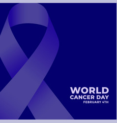world cancer day blue poster with ribbon vector image