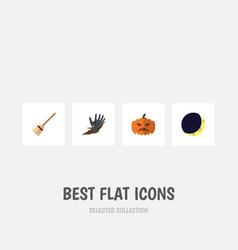 flat icon halloween set of broom zombie pumpkin vector image vector image