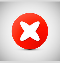 red circle icon with white cross x shape delete vector image