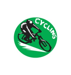 Cyclist Riding Bicycle Cycling Circle Woodcut vector image vector image