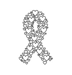 emblem breast cancer with hearts vector image