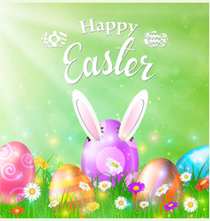 Happy easter card with eggs grass flowers vector