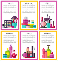 make up and skin care set vector image