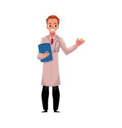 male doctor in medical coat holding stethoscope vector image