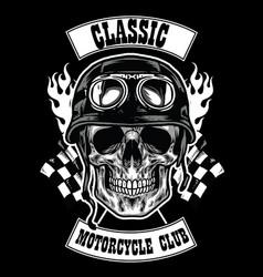 motorcycle club badge with skull wearing helmet vector image vector image
