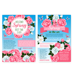 posters for spring holiday of roses flowers vector image vector image