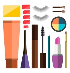 Set of flat cosmetics vector image vector image