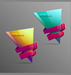 glass banners with abstract shape vector image vector image