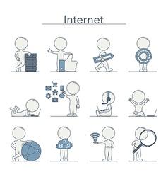 Outline People Internet vector image