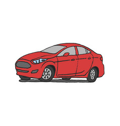 red car doodle vector image vector image
