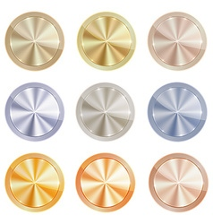set of blank centric circles with shiny discs of vector image