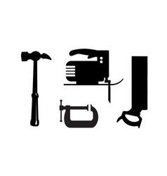 Silhouette building tool set drawing plan layout vector