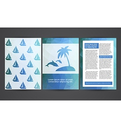 The brochure in polygonal style Travel beach rest vector image vector image