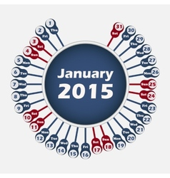 calendar 2015 January template vector image