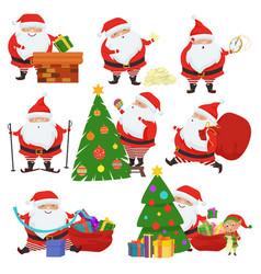 cute santa claus set vector image vector image