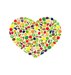 fruit and vegetables heart vector image
