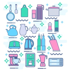 kitchen appliances utensils and kitchenware vector image vector image