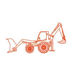 orange silhouette shading industrial machine vector image