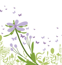 purple floral silhouette vector image vector image